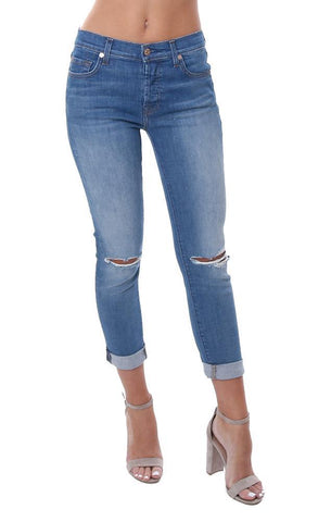7 For All Mankind Skinny Leg Cuffed Ankle Destroyed Knee Light Wash Denim jean