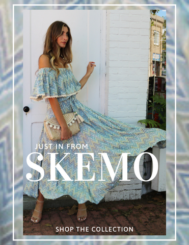 SKEMO DRESSES OFF THE SHOULDER BEADED LACE TRIM PRINTED BLUE MAXI DRESS