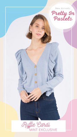 RUFFLE CARDI DREAMERS BABY BLUE SOFT PRETTY SPRING SWEATERS