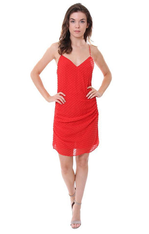 Alice & Olivia red v neck mini dress dotted cross back summer party dresses