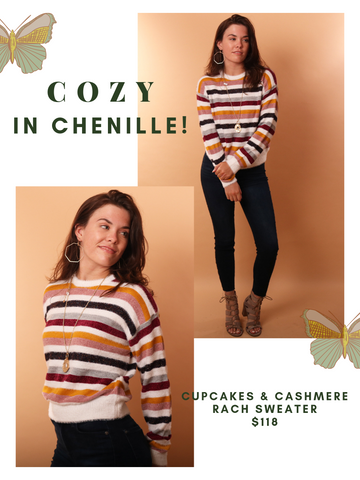 Cupcakes And Cashmere Sweaters Striped Chenille Cozy Soft Fall Pullover Knit