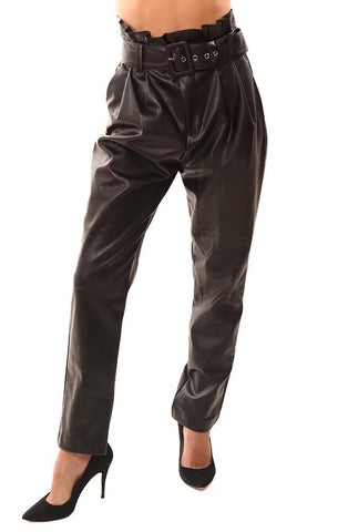 DO AND BE PANTS FAUX LEATHER HIGH WAISTED BELTED CROPPED ANKLE DRESSY BLACK PANT