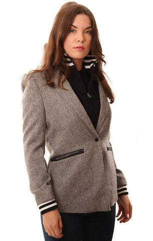 CENTRAL PARK WEST JACKETS SNAP FRONT GREY PLAID BLAZER WITH BLACK KNIT INSERT