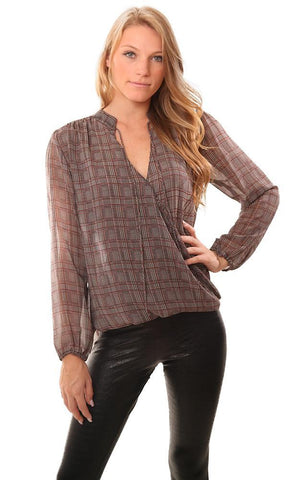 VERONICA M TOPS LONG SLEEVE CROSS FRONT TIE NECK GREY BLACK PLAID BLOUSE
