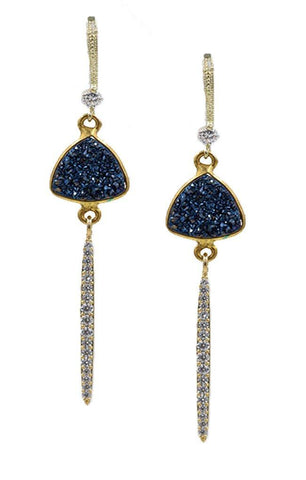 EARRINGS GOLD FILLED BLUE DRUZY JEWELRY