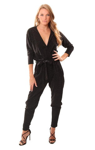 VERONICA M JUMPSUITS SPARKLE V NECK BLACK STRAIGHT LEG SHIMMER PANTSUIT