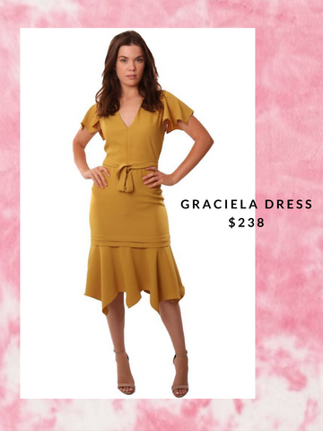 AMANDA UPRICHARD DRESSES V NECK DRESSY GOLD MIDI DRESS