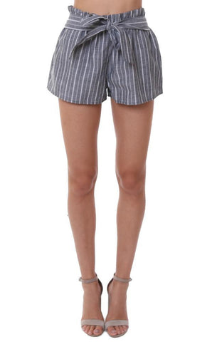 shorts striped belted tie waist summer high waist short