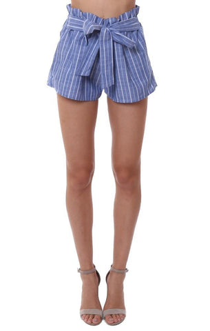 shorts high wasited striped blue white tie waist belted summer short