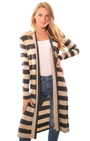 VERONICA M CARDIGANS STRIPED OPEN FRONT LONG SOFT GREY AND TAUPE COZY DUSTER SWEATER