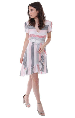 promesa dresses ruffle trim pastel pink striped summer dress