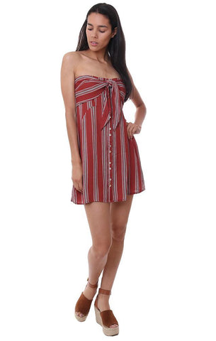 mini strapless striped dress tie front summer sundress red white stripes