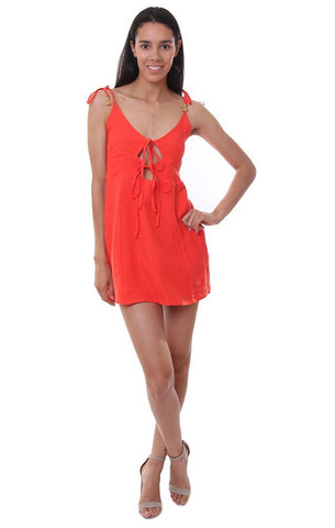 mini dress double tie front red bell tie strap summer sundress