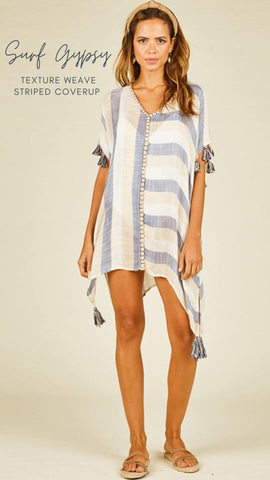 TEXTURE WEAVE STRIPE COVER UP VINTAGE HAVANA BLUE