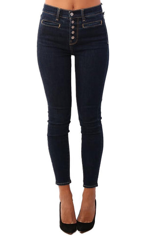 BUTTON FLY HIGH WAIST ANKLE SKINNY 7 FOR ALL MANKIND JEANS DENIM