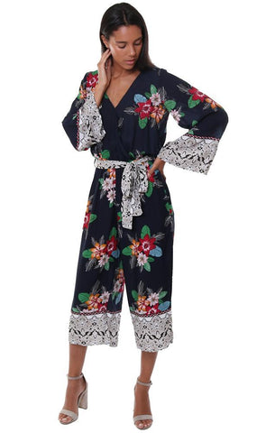 Storia Jumpsuits Cross Front V Neck Kimono Sleeve Floral Print Crop Pant Jumper