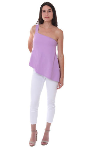 Susana Monaco Tops One Shoulder Strap Purple Soft Strapless Style Top