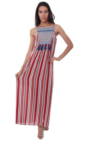 THML dresses striped embroidered tassel maxi summer sun dress