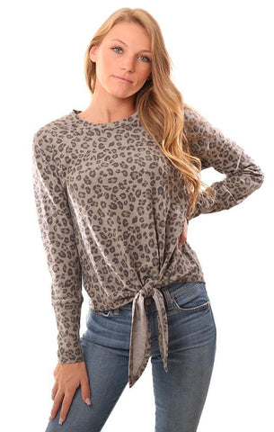 VERONICA M TOPS LONG SLEEVE CREW NECK ANIMAL PRINT TIE FRONT GREY SWEATER