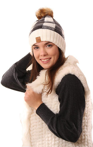 HATS COZY KNIT FAUX FUR POM POM FOLDOVER BUFFALO PLAID IVORY AND BLACK WARM WINTER BEANIE