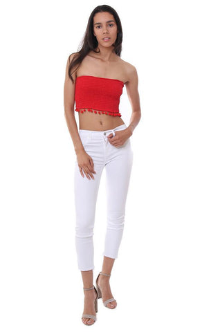 strapless red tube top cropped strapless crop tops smocked
