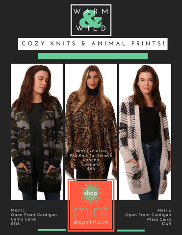 KNITS SWEATERS CARDIGANS KNITS ANIMAL PRINTS PLAID