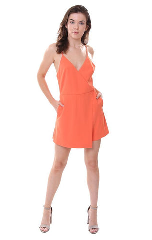 Alice & Olivia V neck Cross Back Orange Jumper Summer One Piece Skort Romper