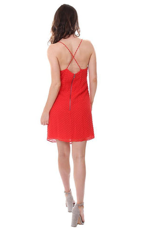 Alice & Olivia cross back summer mini dress dotted red v neck dresses