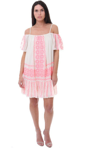 712889752b What could be more beachy-chic than this gorgeous hot pink and white Amanda  Uprichard dress? A loose silhouette with a trendy off the shoulder and a  flirty ...