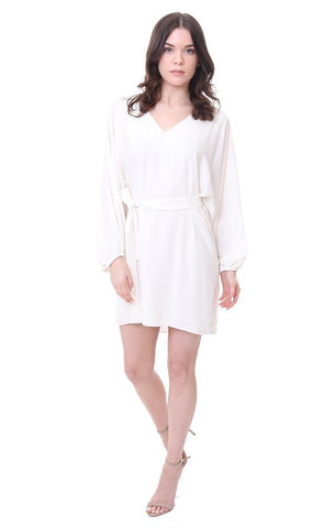 V Neck Long sleeve Tie Front White Chic Party Cocktail Dress