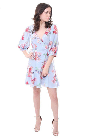 Mini Wrap Floral Blue 3/4 Sleeve Summer Mini Ruffle Dres