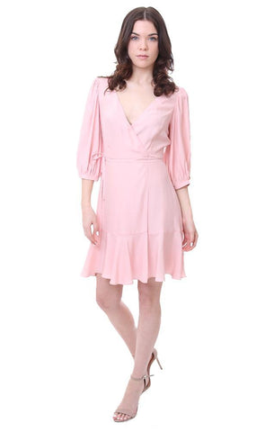 Wrap Ruffle 3/4 Sleeve Mini Pink Summer Cocktail Dress