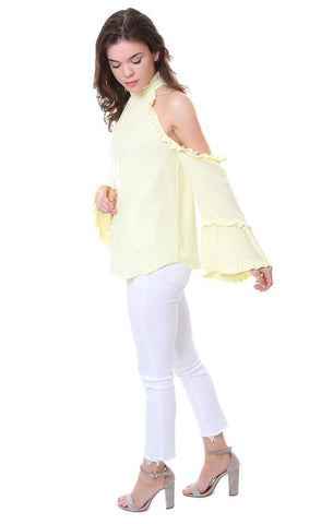 Amanda Uprichard Top Cold Shoulder High Neck Ruffle bell Sleeve Blouse Yellow