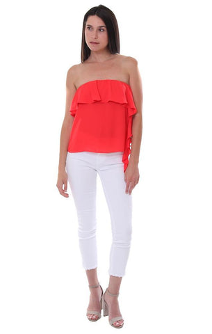 Amanda Uprichard Red Top Strapless Ruffle Side Summer Blouse