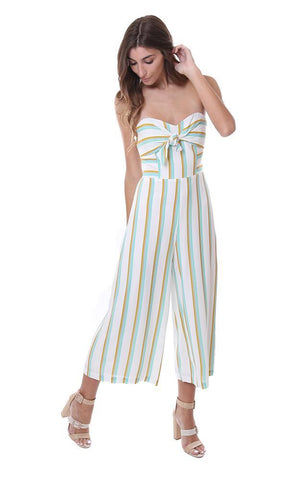 Amanda Uprichard striped strapless tie front jumper