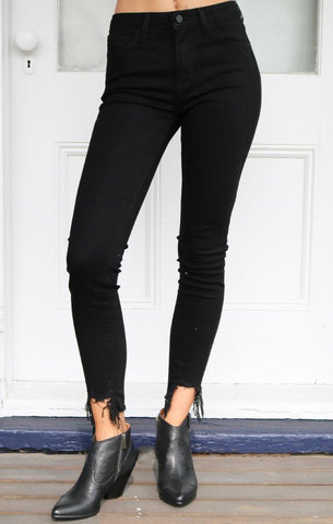 HI RISE SKINNY WITH DESTROYED HEM JUST BLACK DENIM JEANS