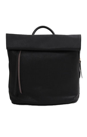BACKPACKS VEGAN LEATHER TEXTURED ROLL TOP CHIC BLACK BACKPACK