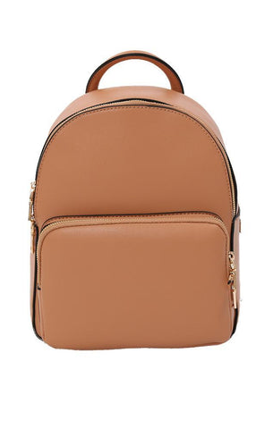 BACKPACKS MINI VEGAN LEATHER GOLD ZIPPER CLOSURE CHIC TAN BACKPACK