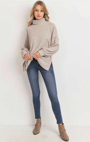 BALLOON SLEEVE THERMAL CHERISH TURTLENECK COZY LONG SLEEVE TOPS