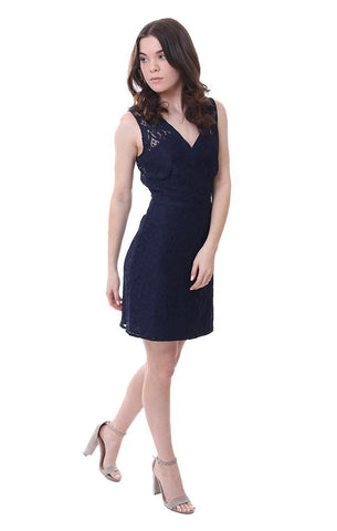 Navy Embroidered Sleeveless V neck Lace Mini Cocktail Dress