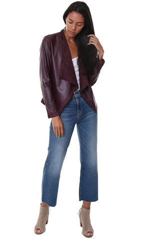 BB Dakota Jackets Faux Leather Suede Reversible Burgundy Fall jacket