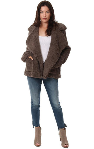 BB Dakota Jackets Faux Fur Cozy Teddy Coat Brown Warm Soft Oversized Coat