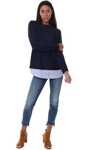 bb dakota tops long sleeve lined layered top navy knit top