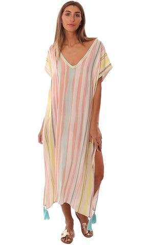 VINTAGE HAVANA DRESSES V NECK TASSEL TRIM STRIPED BEACH COVER UP MAXI DRESS