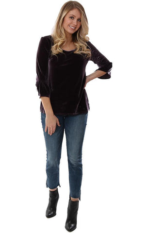 LYSSÉ TOPS 3/4 BELL SLEEVE VELVET PURPLE SCOOP NECK SOFT BLOUSE