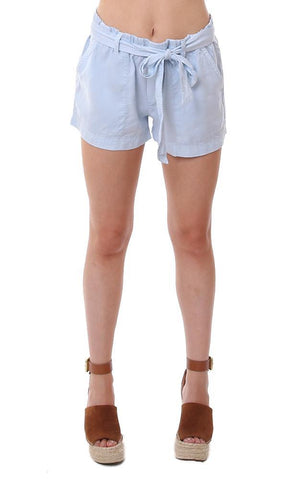 bella dahl shorts tie waist belted blue lightweight summer short