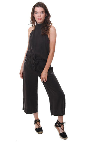 Bella Dahl Jumpsuits High Neck Halter Crop Pant Drawstring Waist Black Jumpsuit