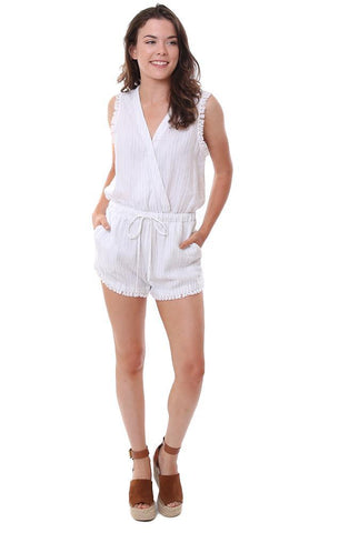 bella dahl rompers v neck drawstring waist striped crossover front sleeveless romper