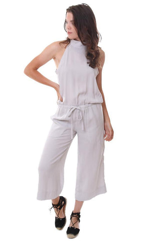 Bella Dahl Halter Neck Sleeveless Drawstring Waist Crop Pant Jumpsuit