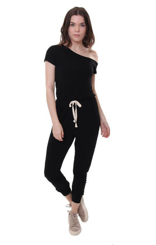 Six Fifty Black One Shoulder Jumpsuit Soft Comfortable Jumper